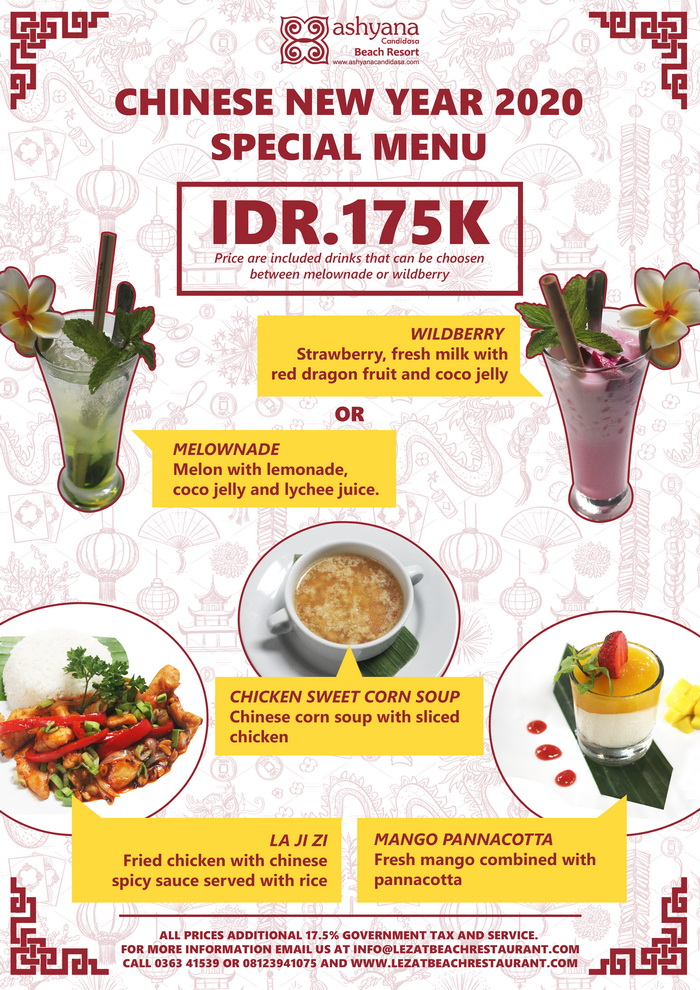 Chinese New Year Special Food And Drink Lezat Beach Restaurant